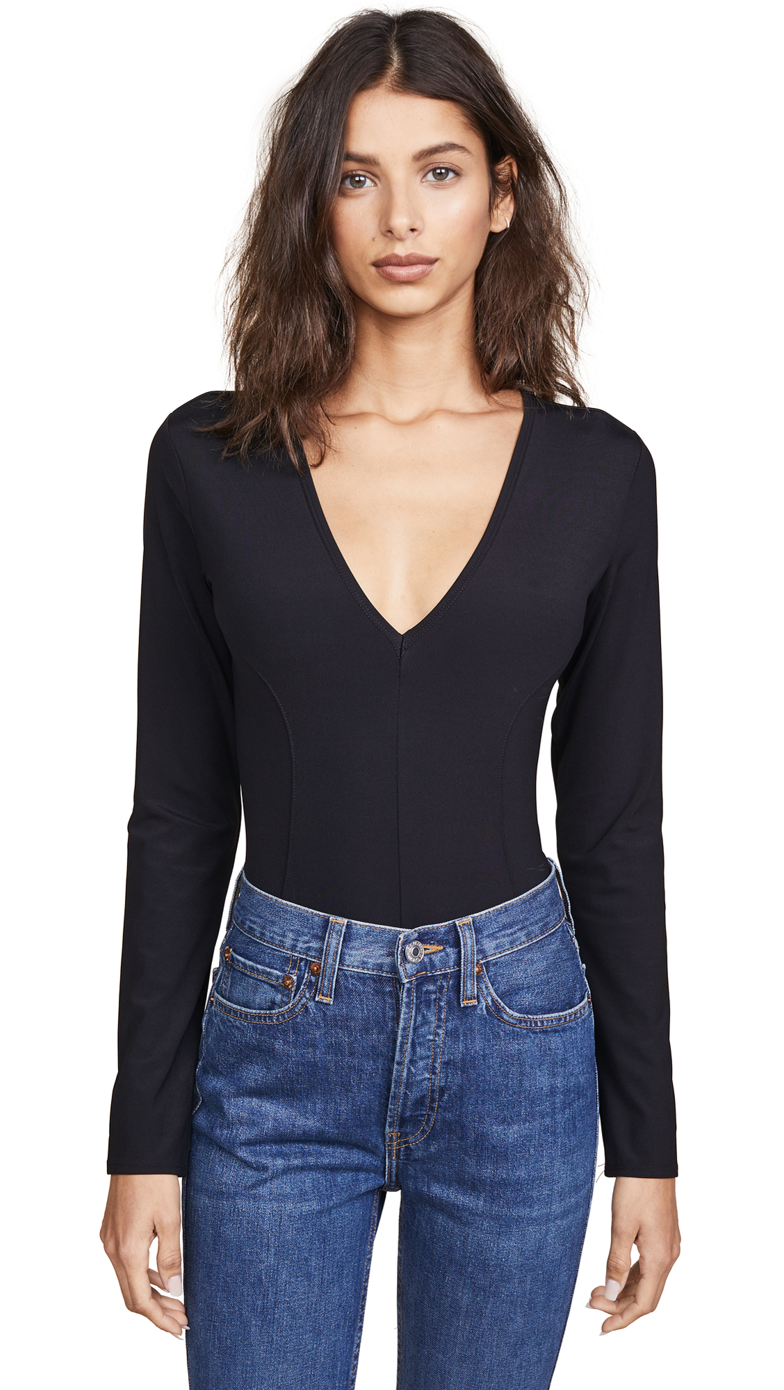 Free People Super Soft Deep V Thong Bodysuit In Black
