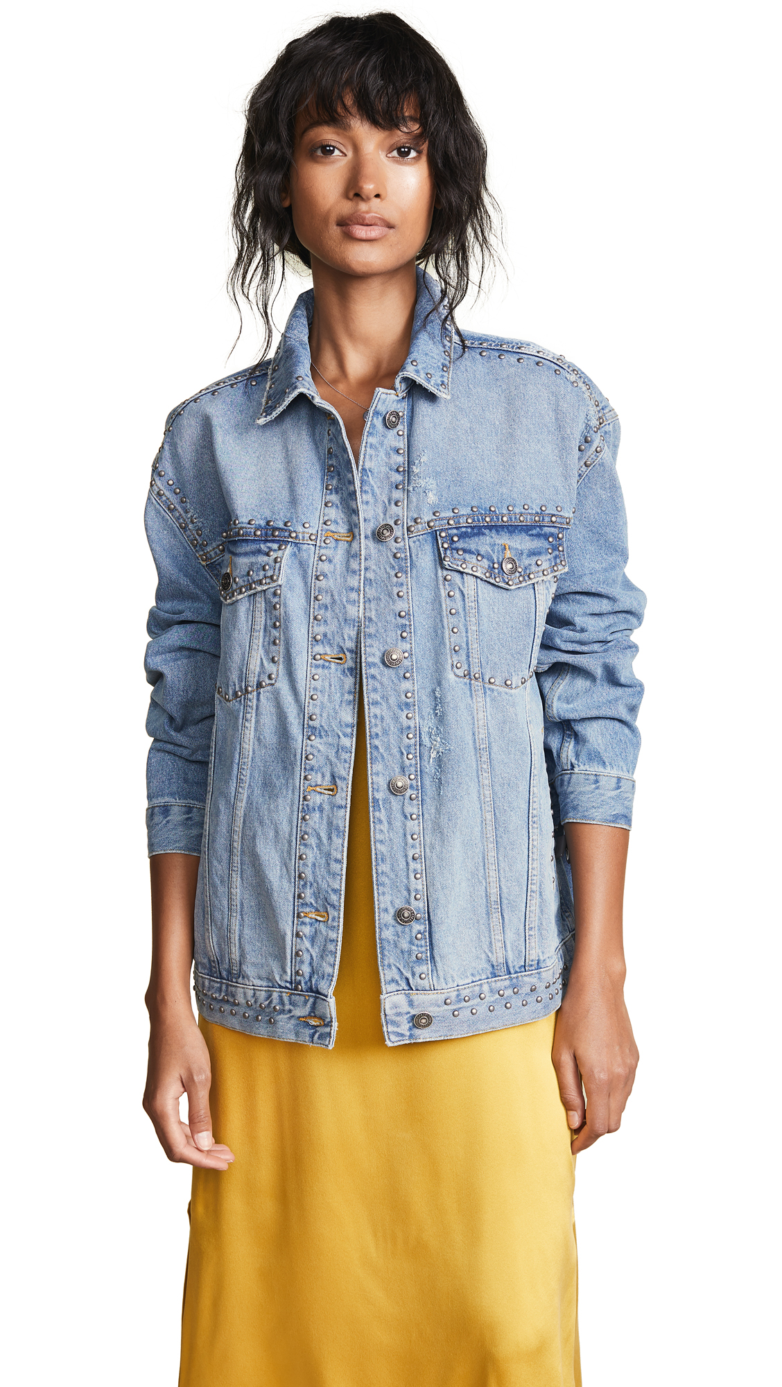 Free People Studded Trucker Jacket In Blue