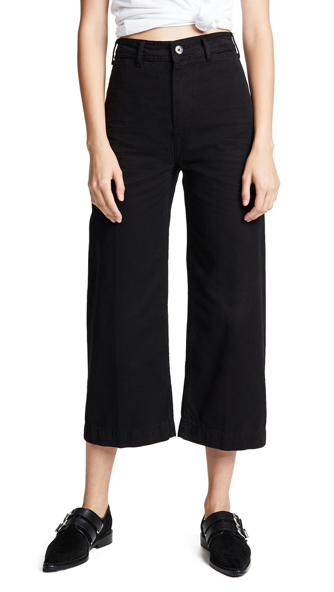 FREE PEOPLE Patti Crop Wide-Leg Jeans In Black