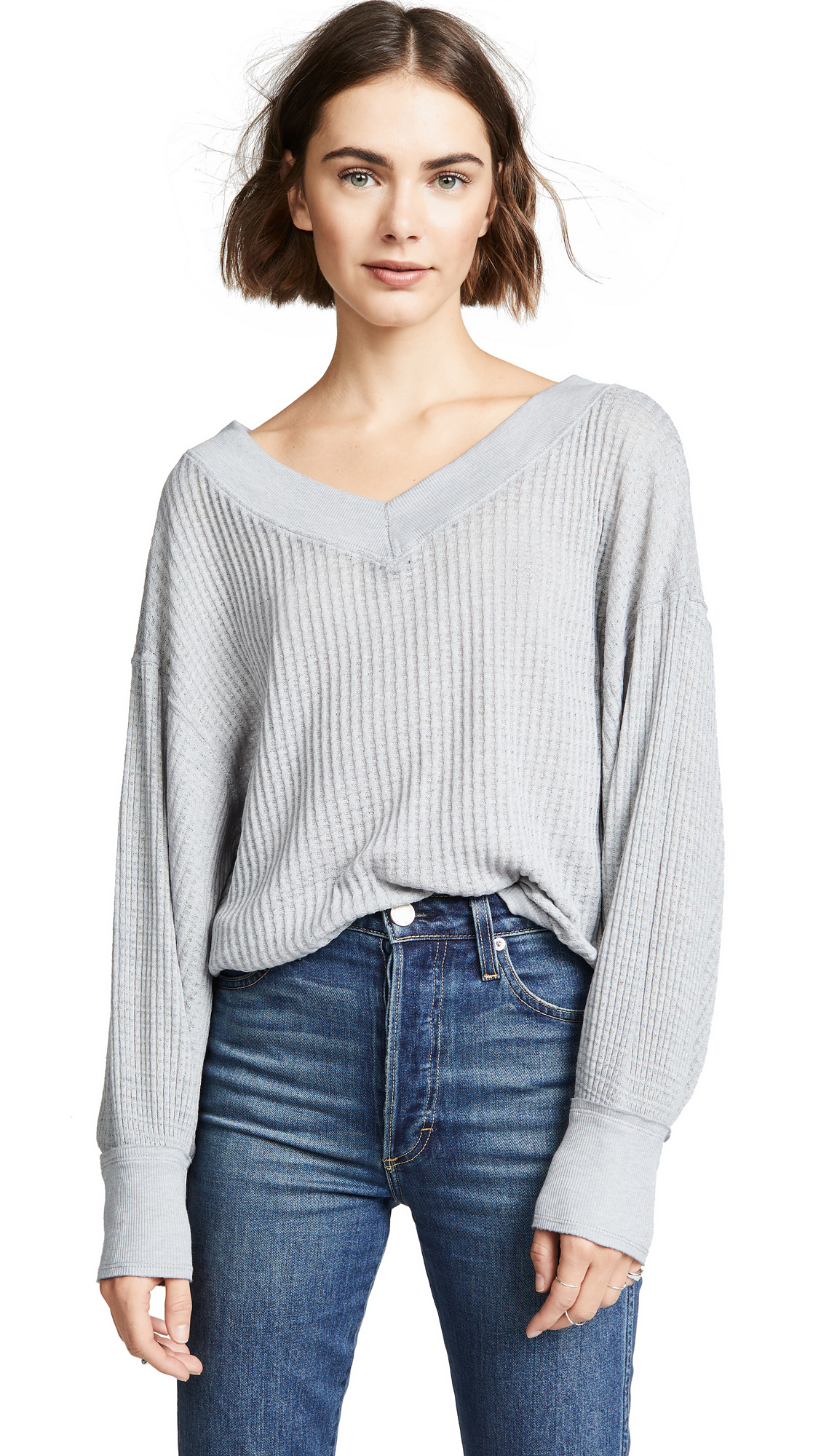 Free People South Side Thermal In Grey