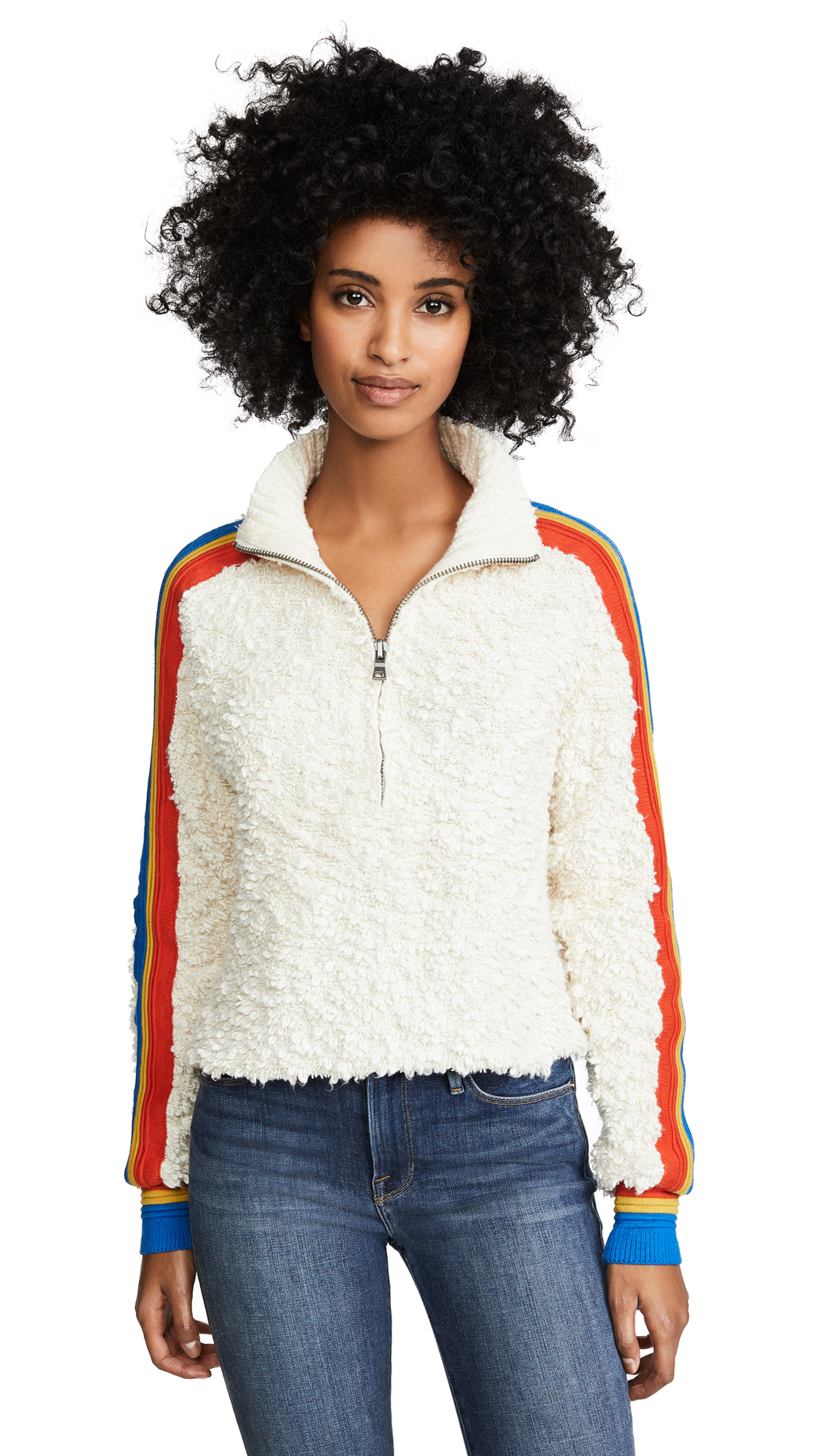 Free People Marshmallow Stripe Mock In Cream