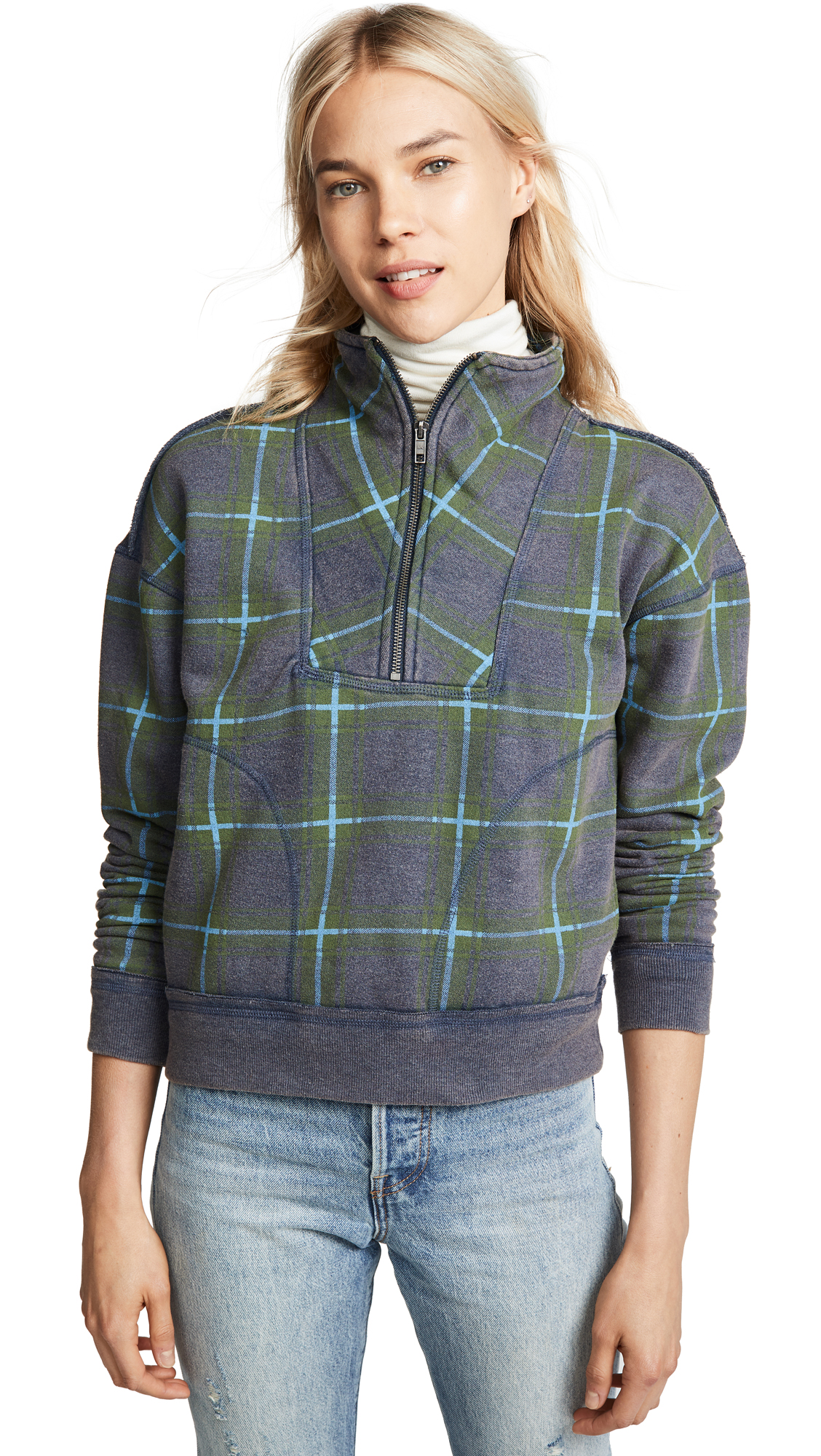 Free People Why Not Zip Thru Pullover In Green