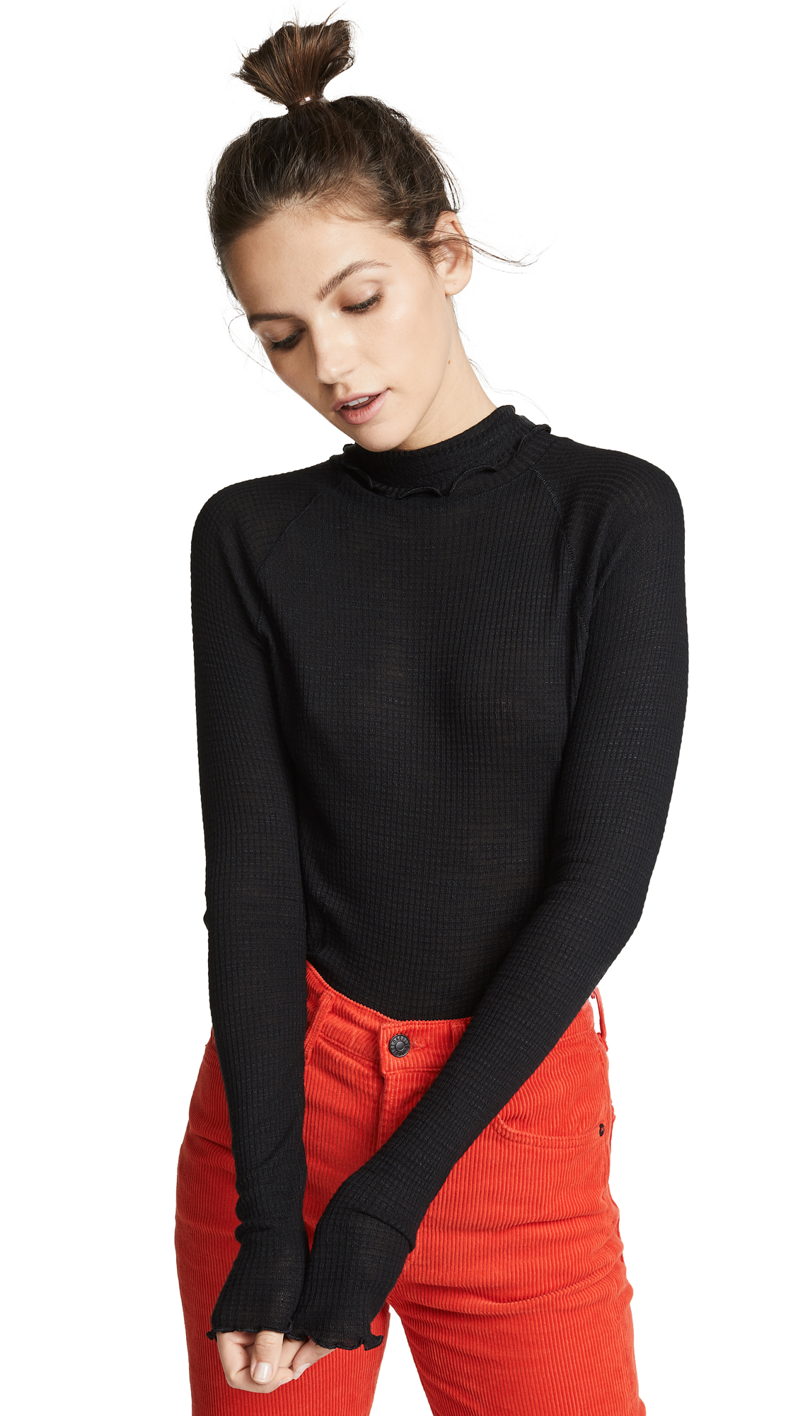 Free People Make It Easy Thermal Sweater - Black