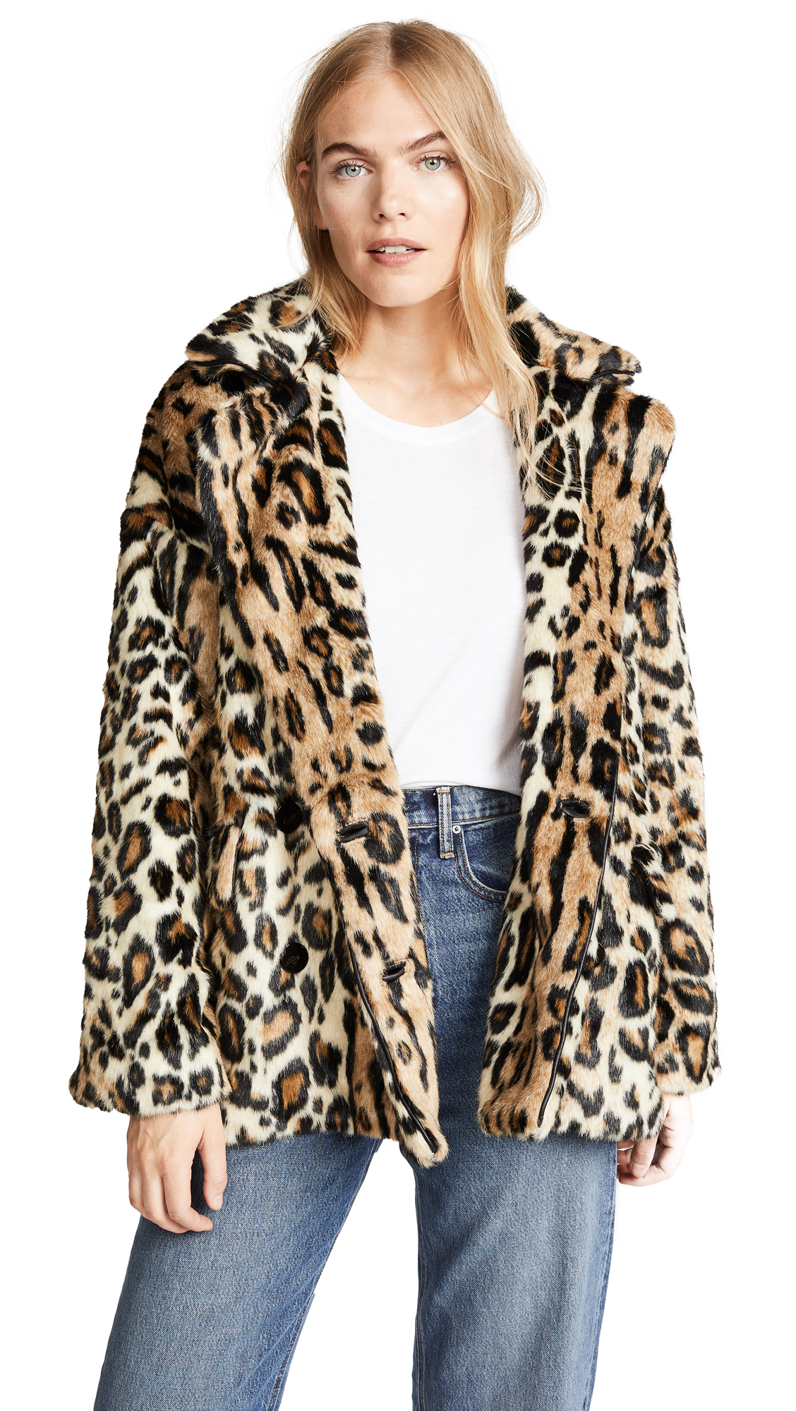 Free People Kate Leopard Coat - Brown Combo