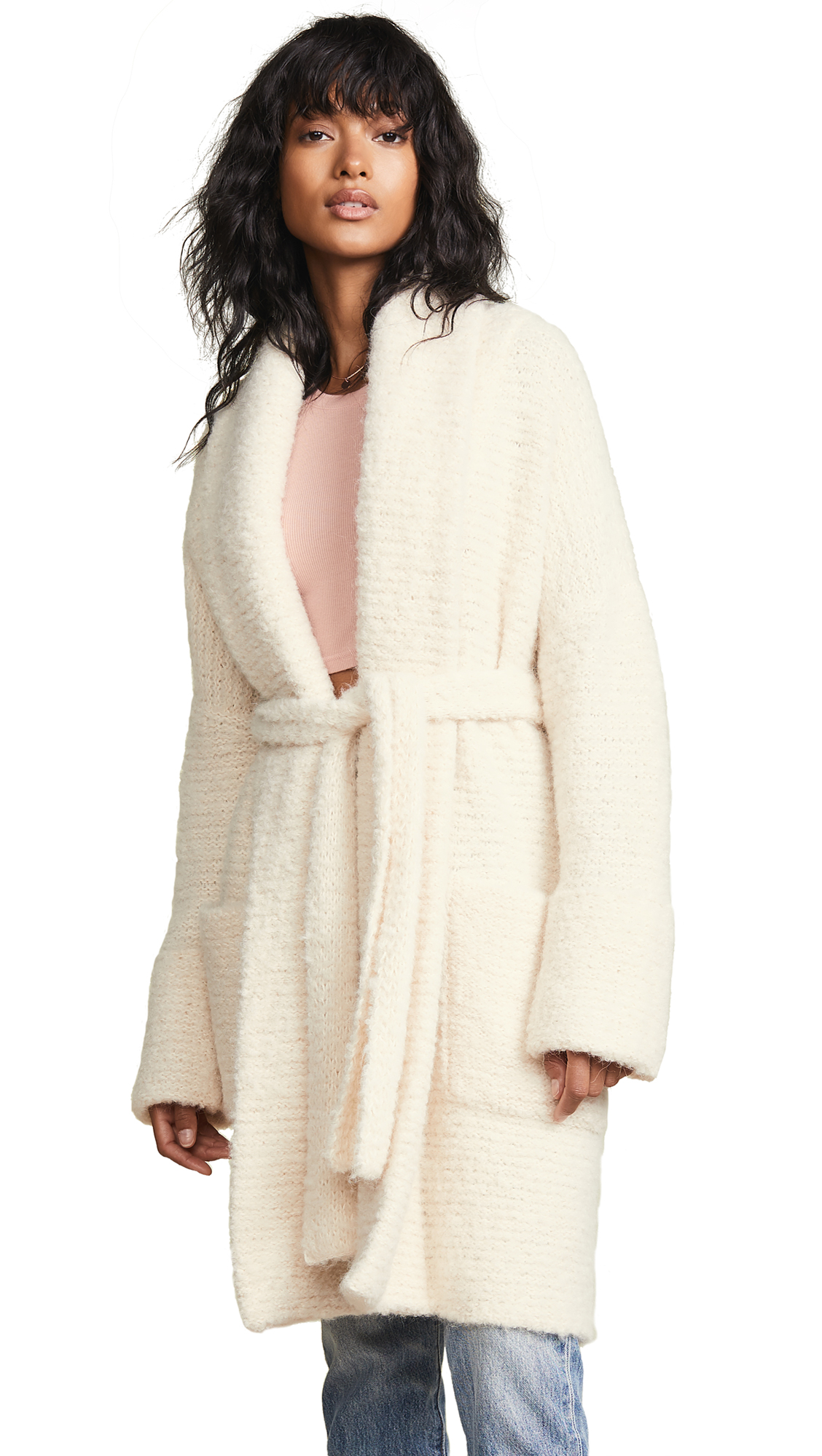 Free People Bo Peep Sweater Jacket In Ivory