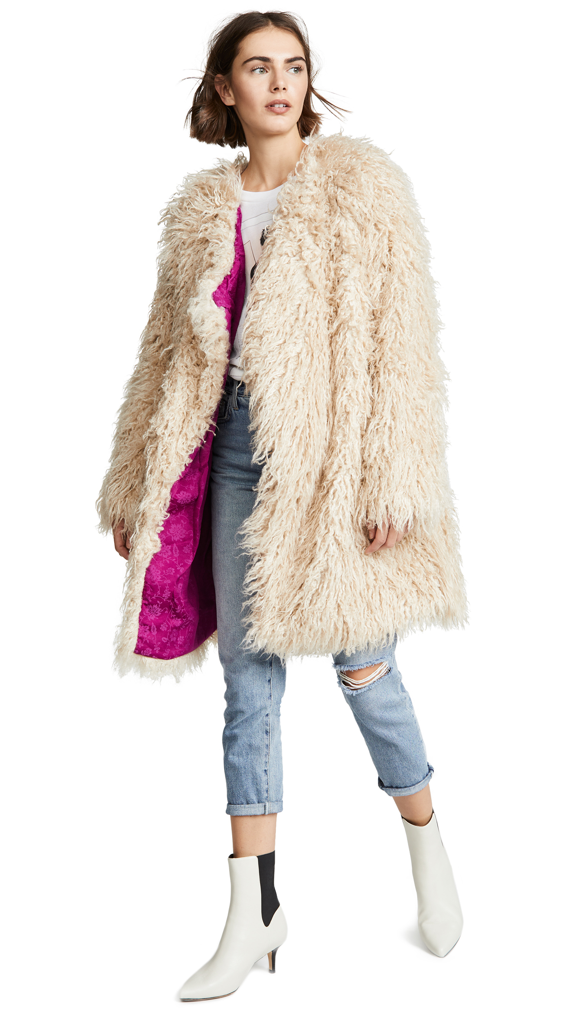 Free People Florence Faux Fur Coat In Sand