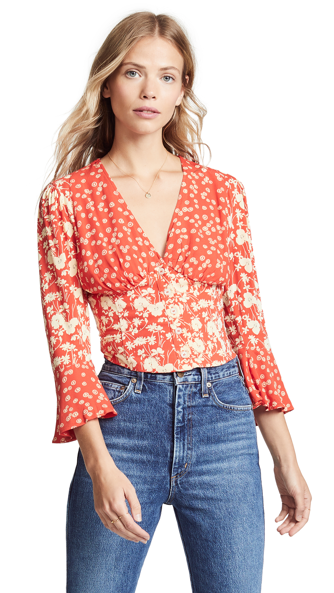 FREE PEOPLE Lady Bohemian Fluted-Sleeve Floral-Print Woven Blouse in Red