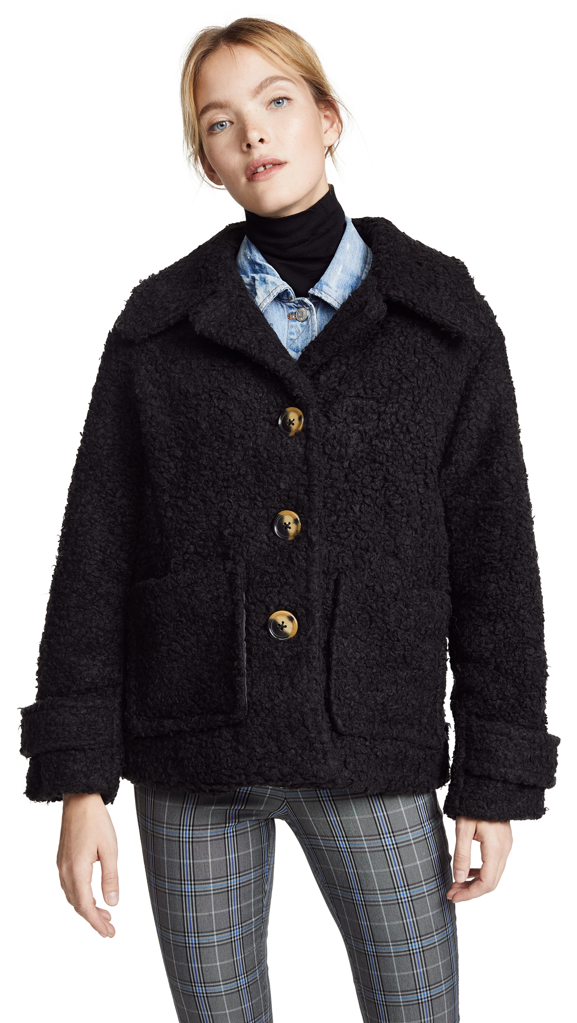 Free People So Soft Cozy Peacoat