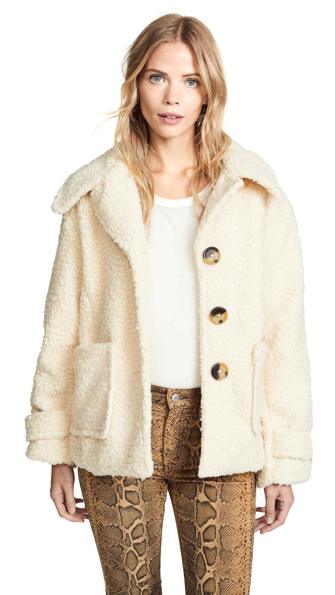 Free People So Soft Cozy Peacoat - Ivory