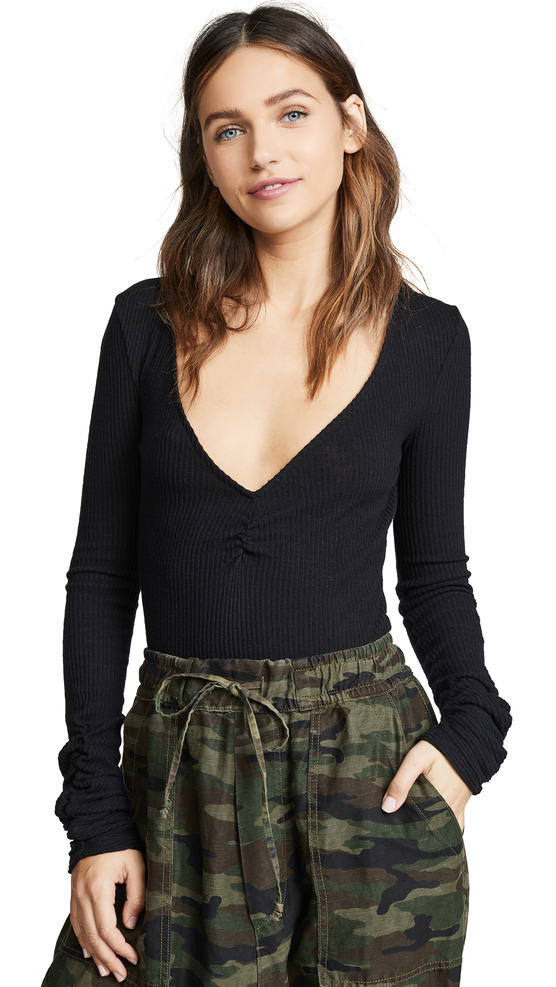 Free People Cozy Up With Me Bodysuit - Black