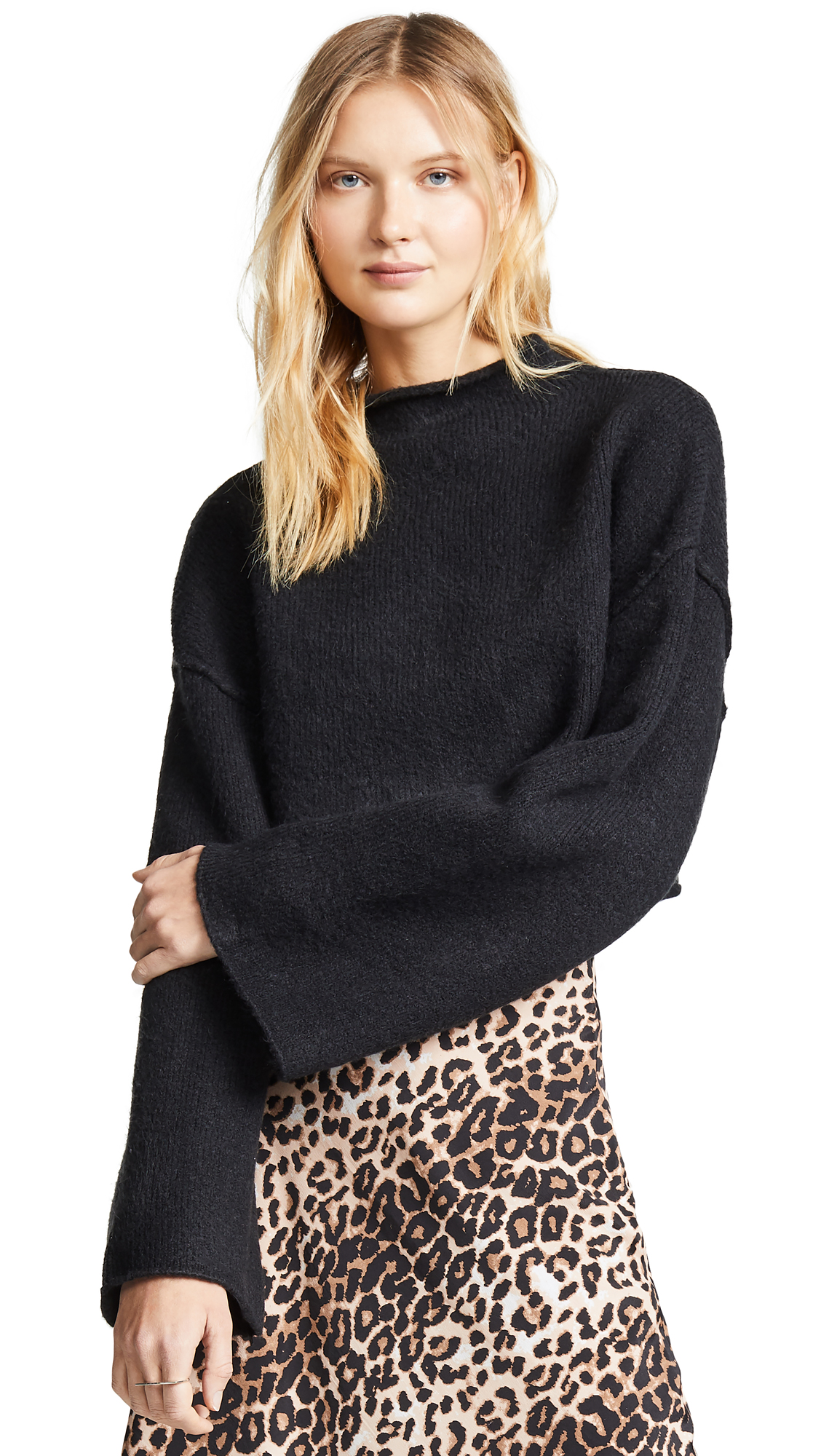 Free People Lost In A Forest Sweater - Black