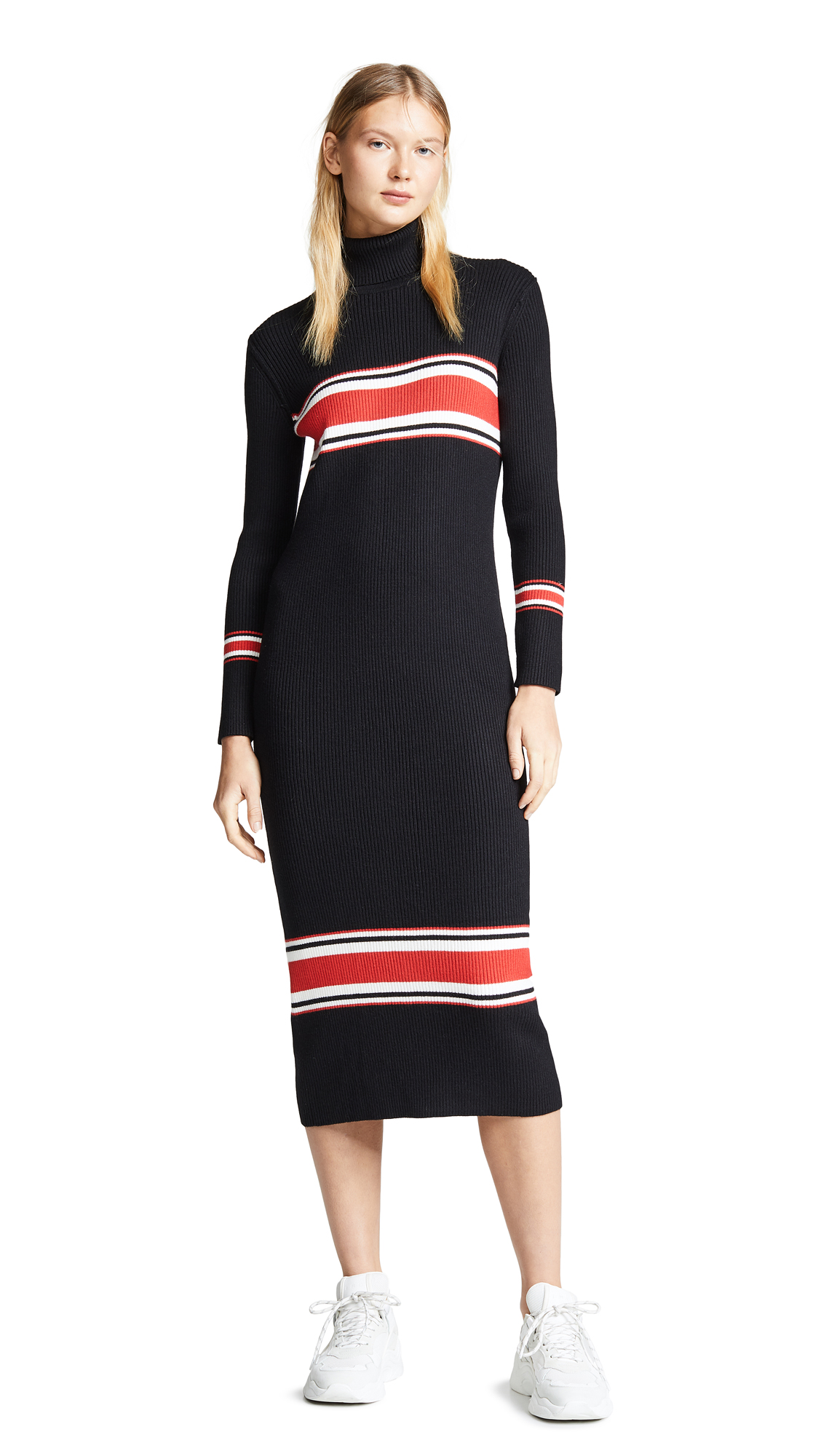 Free People Sport Stripe Midi Dress - Black