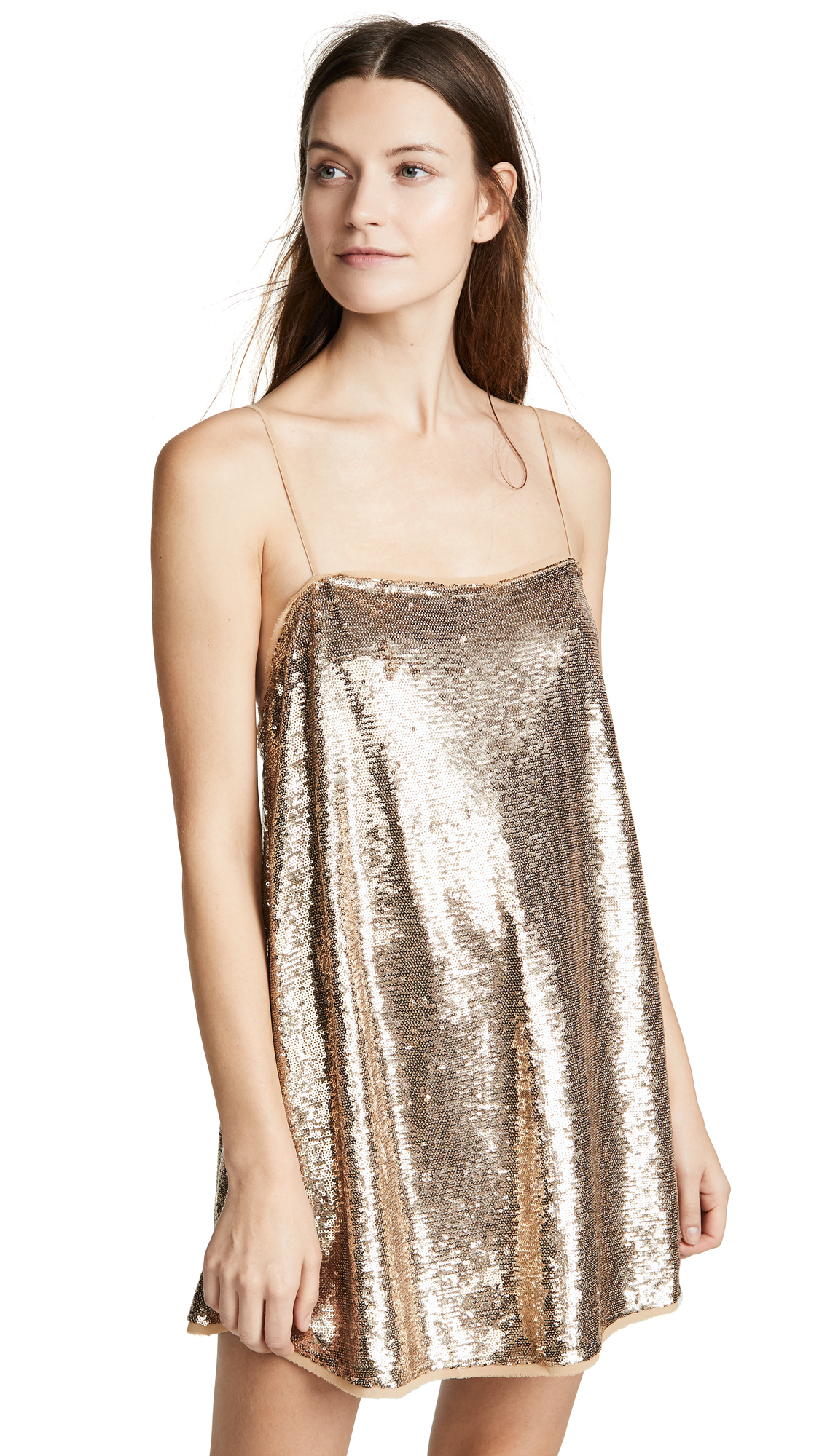 Free People Time To Shine Sequin Slip Dress - Gold