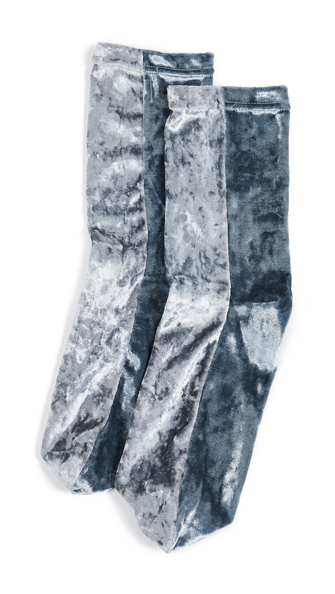 Free People Colorblock Velour Socks In Silver
