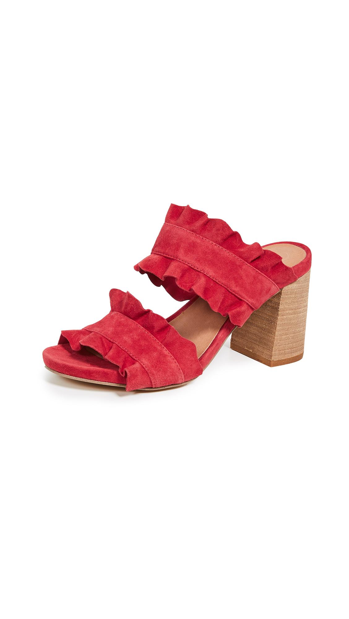 Free People Rosie Ruffle Mules - Red