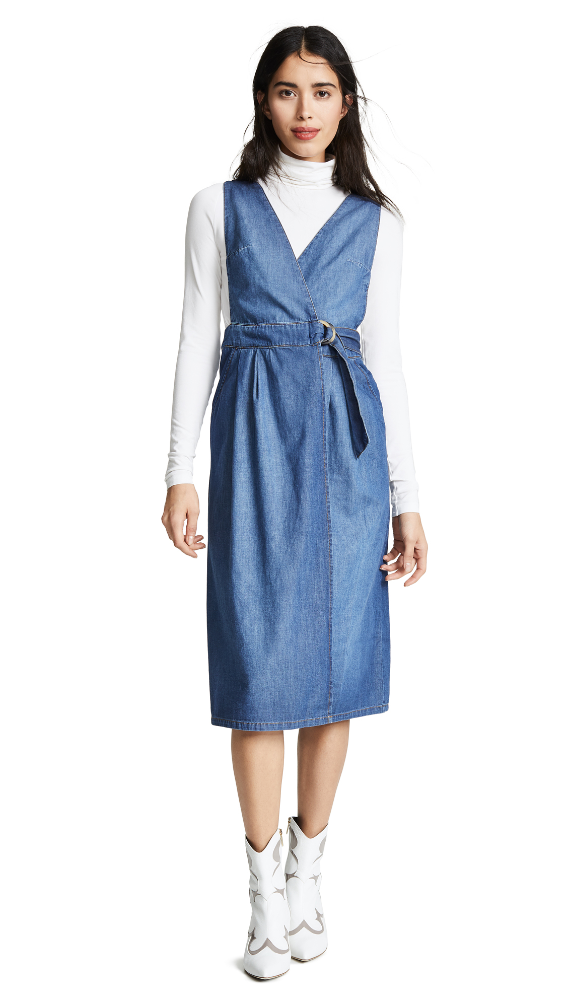 Free People Keeping My Cool Denim Dress - Denim Blue