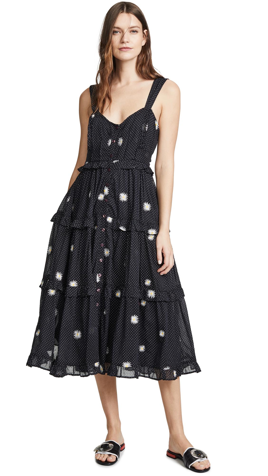 Free People Daisy Chain Midi Dress - Black Combo