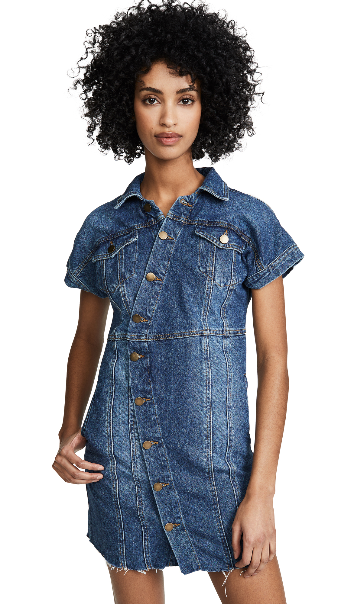 Free People The City Mini Dress - Blue