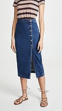 529bbc402a2 Free People. Jasmine Buttoned Midi Skirt