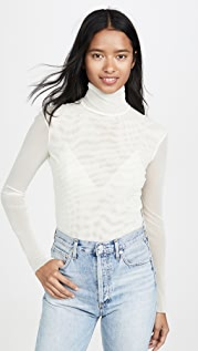 Free People Double Layer Mesh Turtleneck