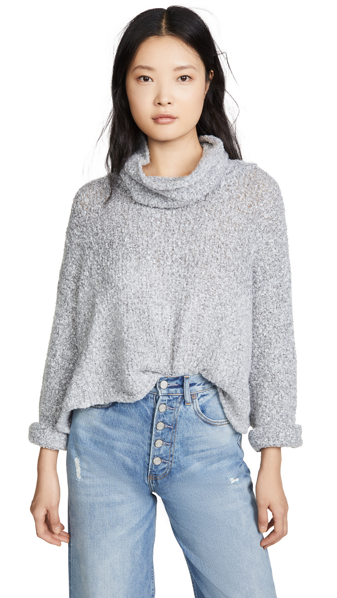 Free People Bff Cowl Neck Sweater In Grey