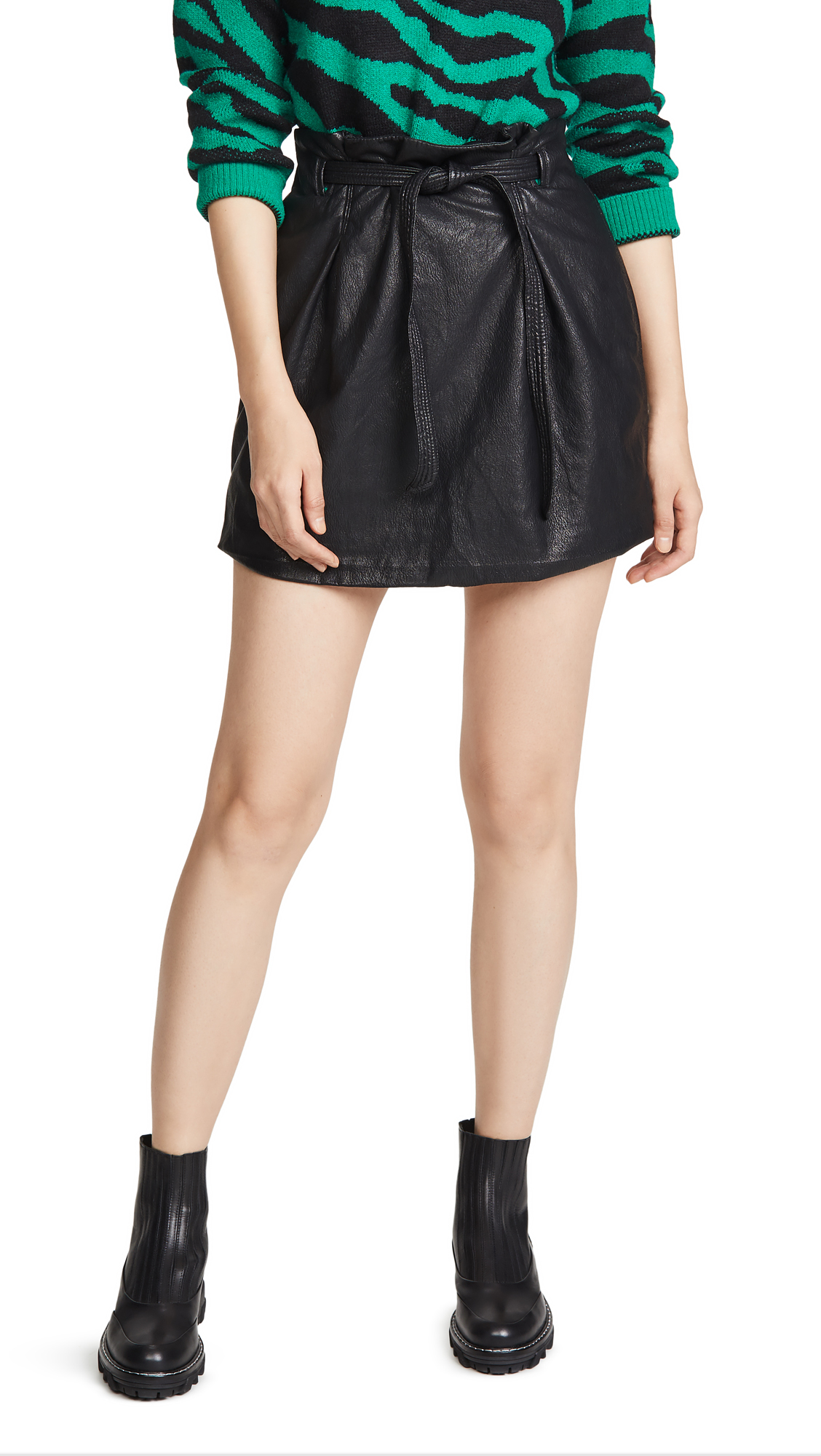 Buy Free People online - photo of Free People Faux Leather Payton Paperbag Miniskirt