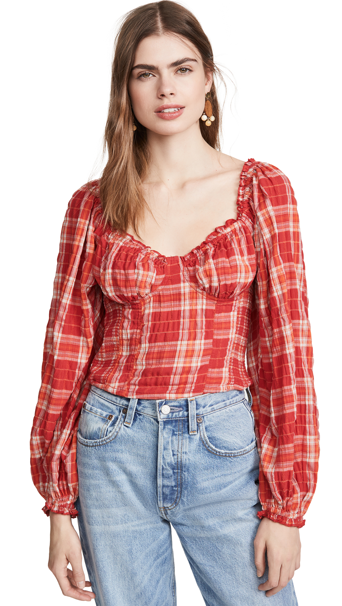Free People Cherry Bomb Plaid Top – 30% Off Sale