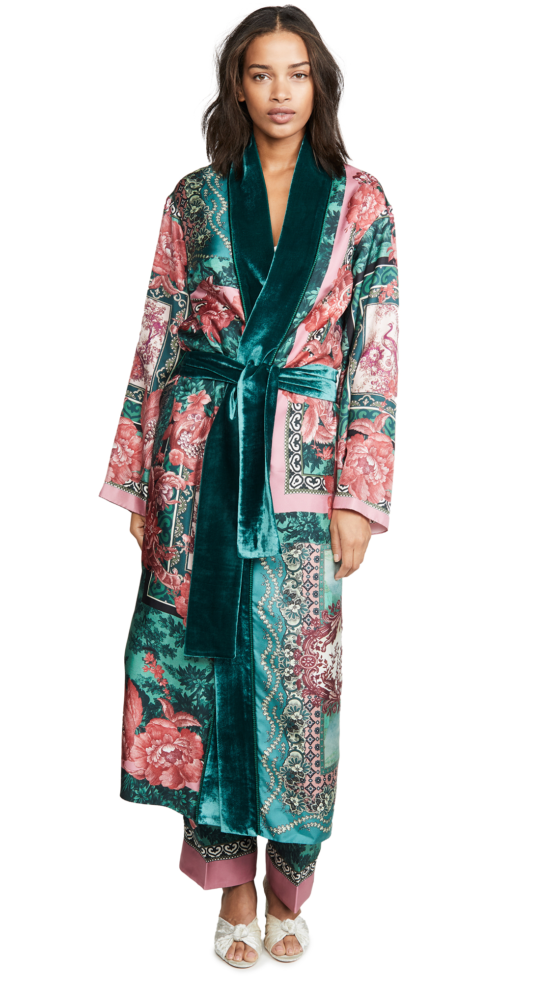 Buy F.R.S For Restless Sleepers online - photo of F.R.S For Restless Sleepers Long Robe With Velvet Trim