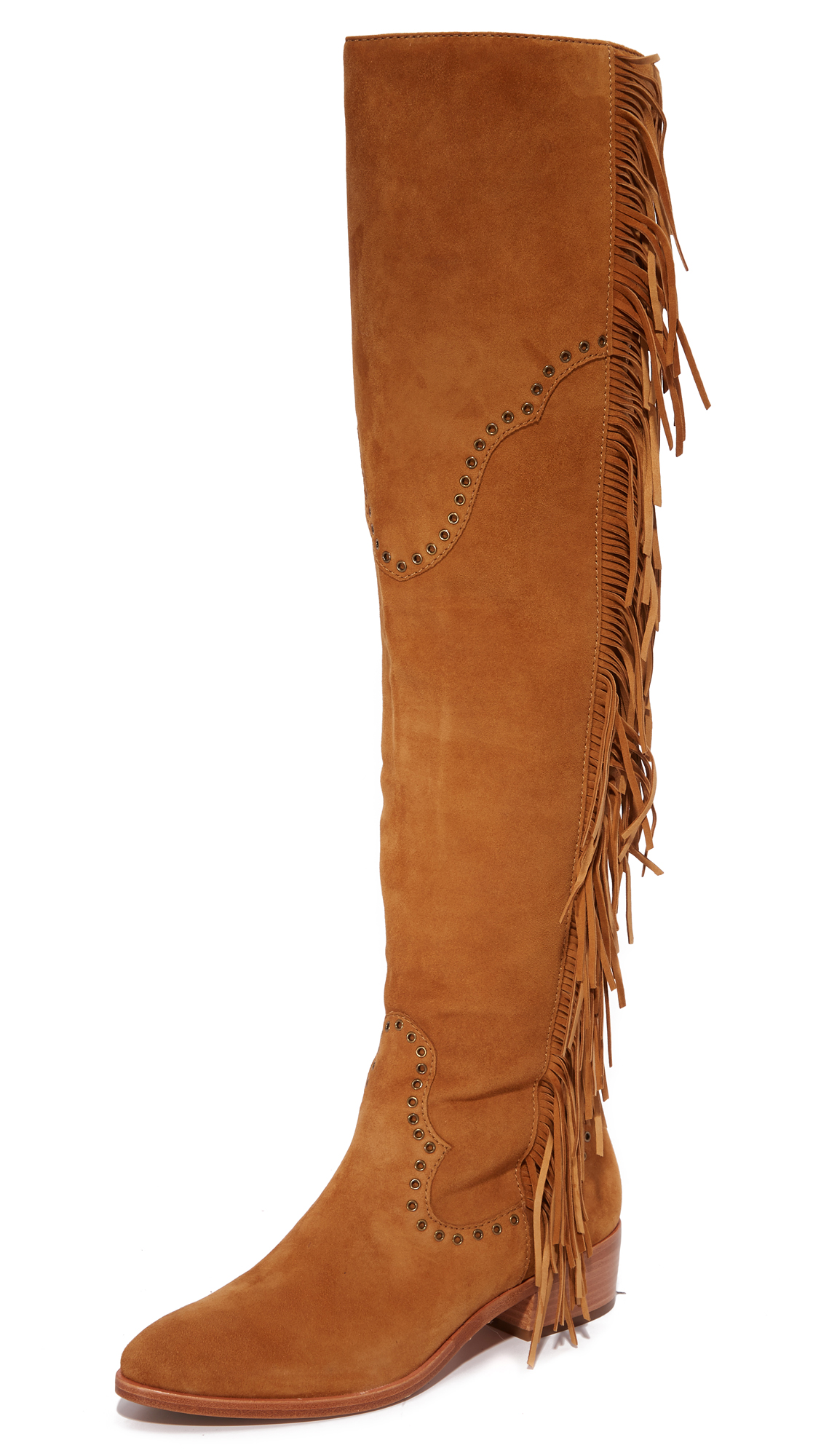 Frye Ray Fringe Over The Knee Boots - Camel