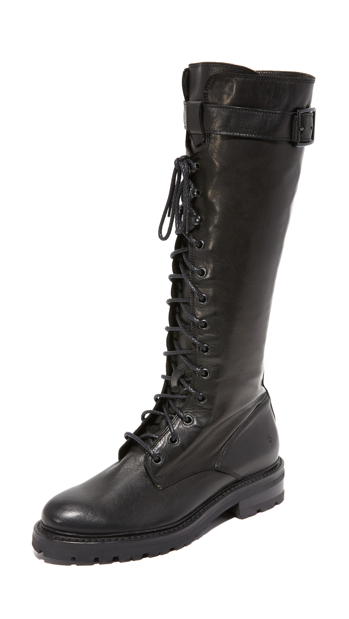 Frye Julie Lace Tall Combat Boots - Black