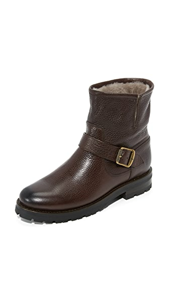 Frye Natalie Shearling Short Engineer Booties - Dark Brown