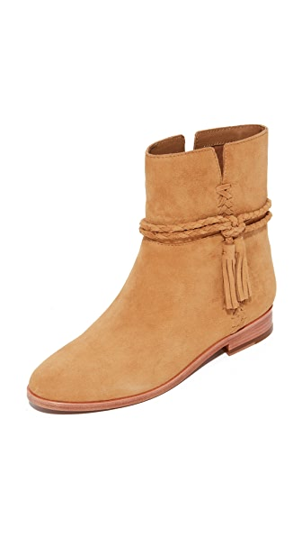 Frye Tina Whipstitch Tassel Booties - Camel