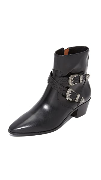 Frye Ellen Short Buckle Booties - Black