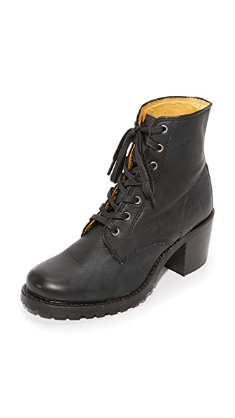 Frye Sabrina Lace Up Booties - Black