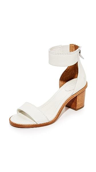 Frye Brielle Back Zip City Sandals - White