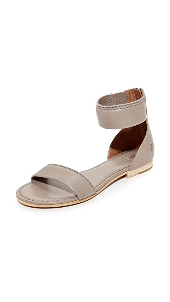 Frye Carson Ankle Zip Sandals - Grey