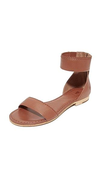 Frye Carson Ankle Zip Sandals - Cognac