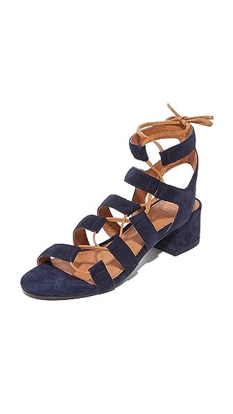Frye Chrissy Side Ghillie City Sandals - Navy