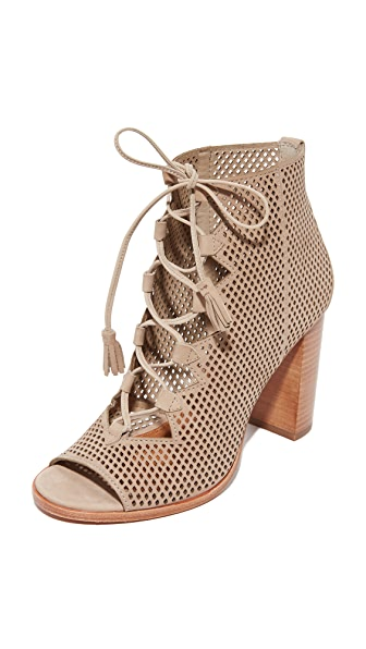 Frye Gabby Perf Ghillie Open Toe Booties - Taupe