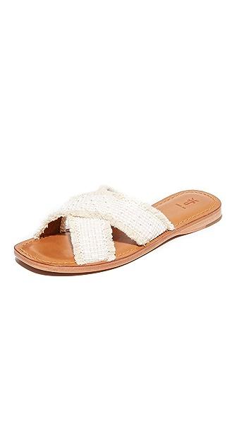 Frye Hayley Frayed Slide Sandals - White