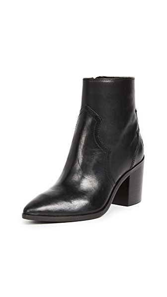 Frye Flynn Short Inside Zip Booties In Black