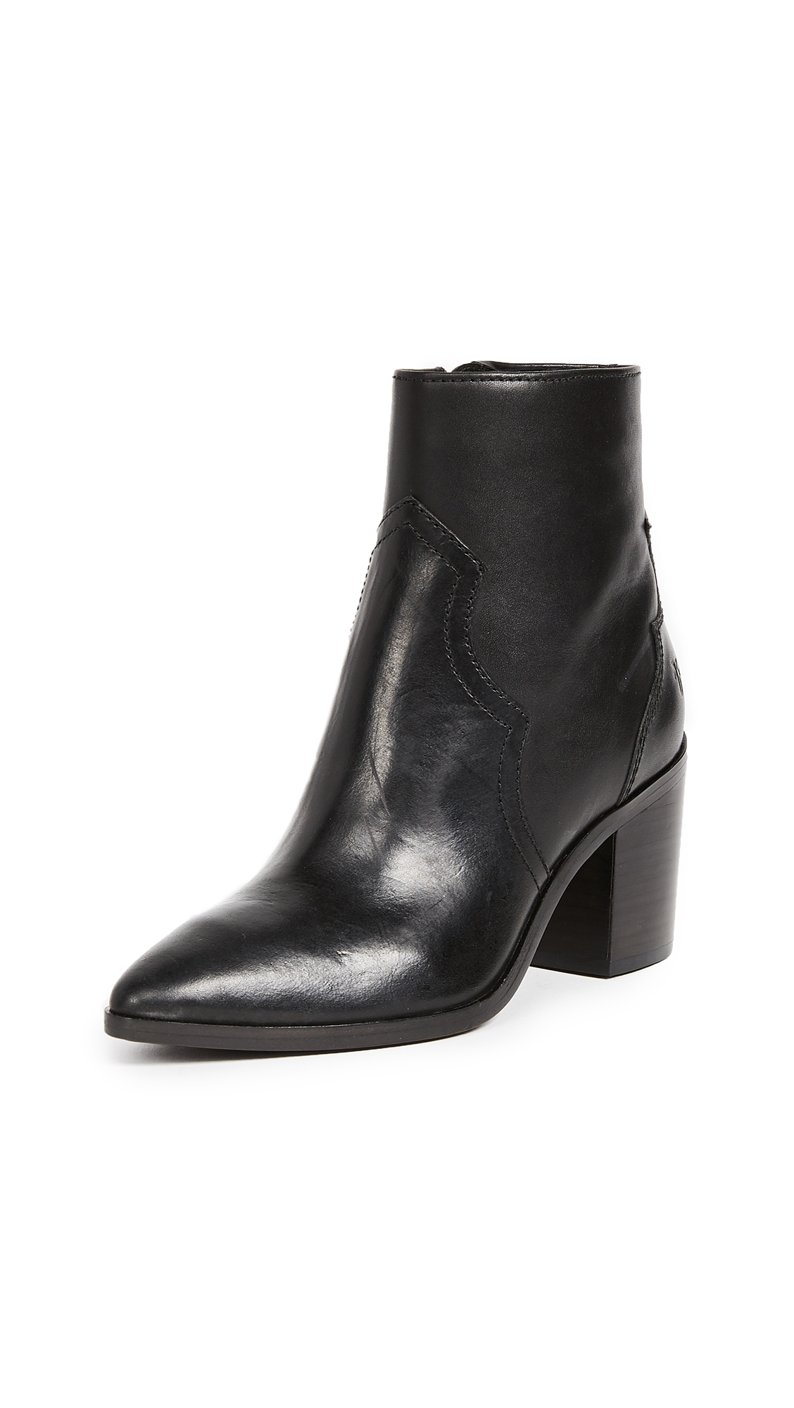 Frye Flynn Short Inside Zip Booties - Black