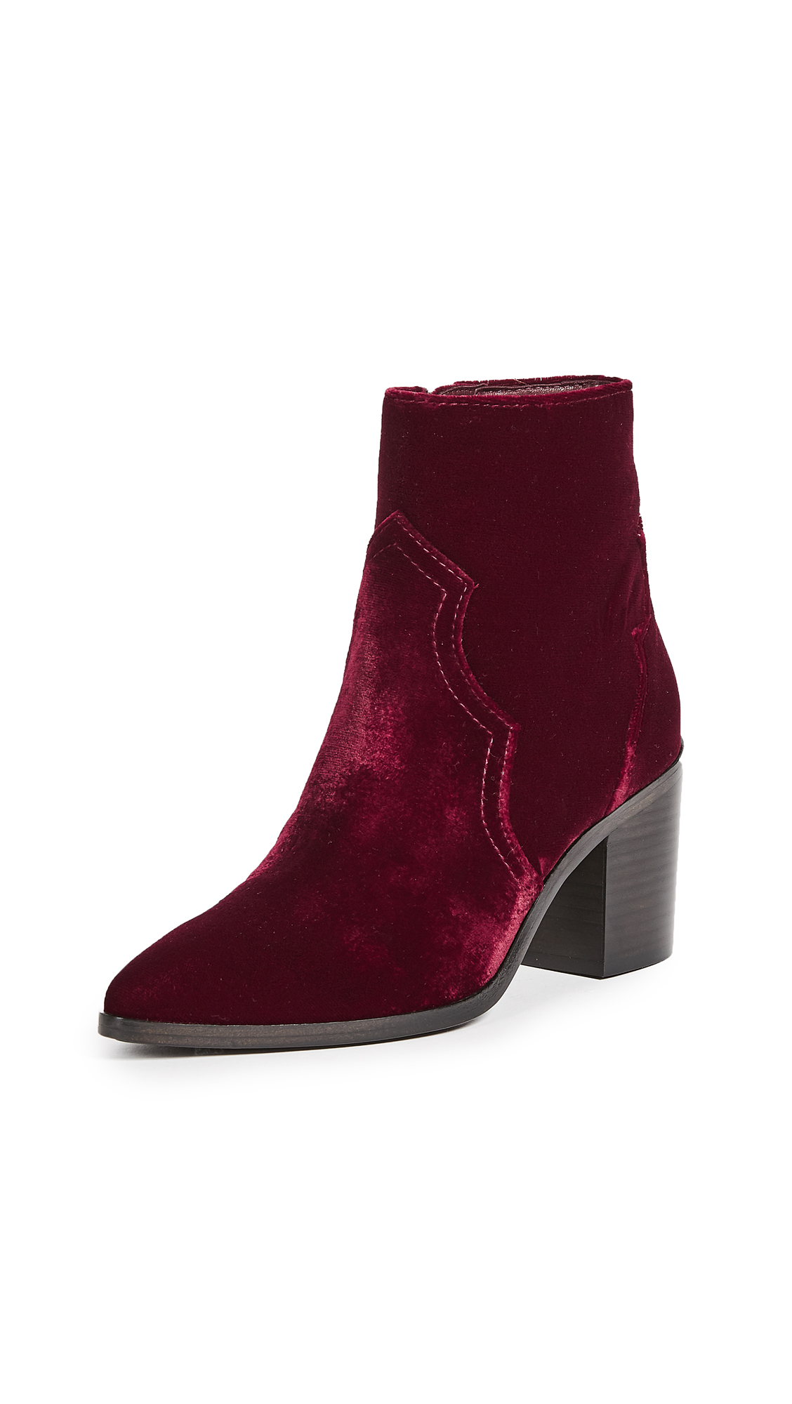 Frye Flynn Short Inside Zip Booties - Wine