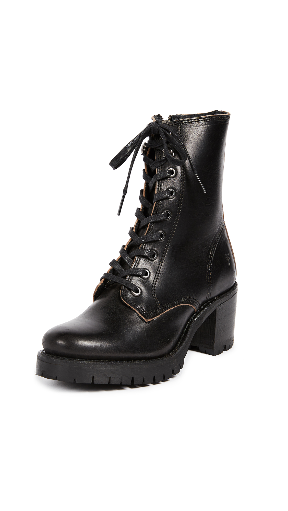 Frye Sabrina Combat Heeled Boots - Black