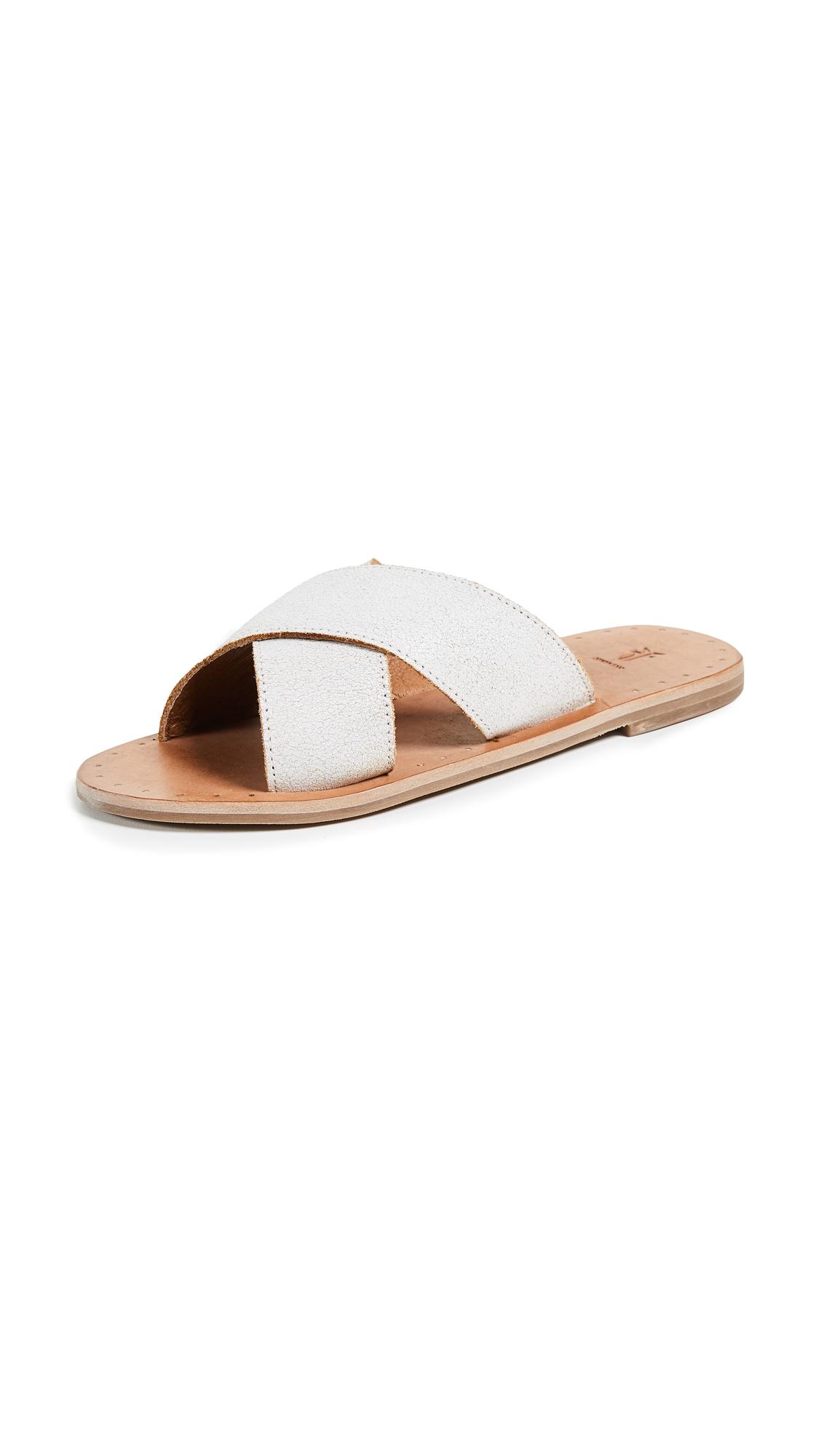 Frye Ally Crisscross Slides - White
