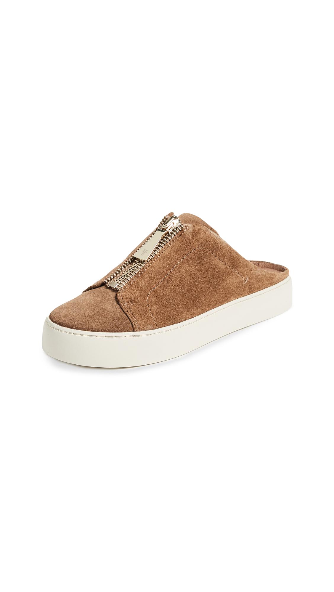 Frye Lena Zip Mule Suede Sneakers - Tan