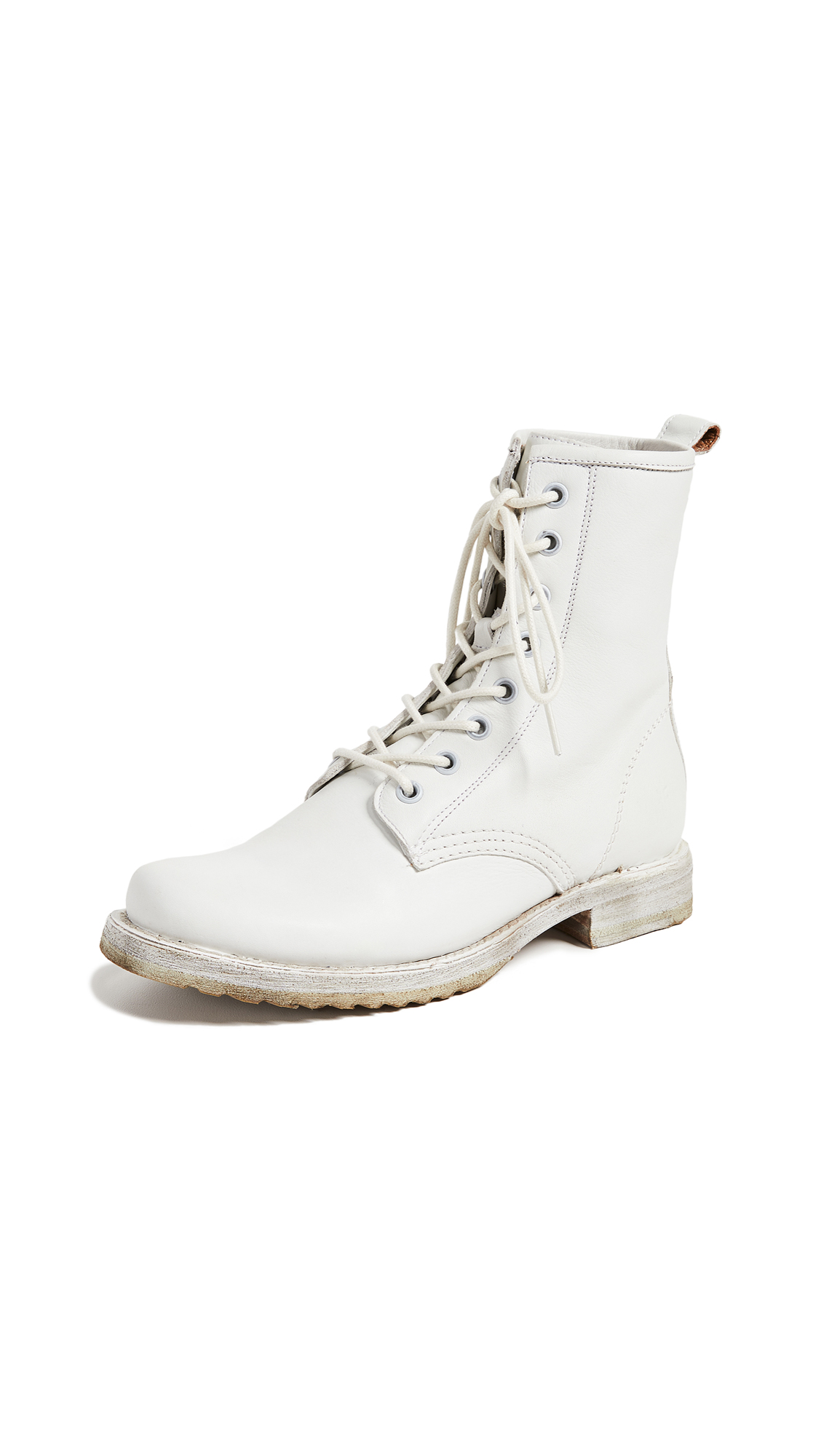 FRYE Women'S Veronica Round Toe Leather Combat Booties in White