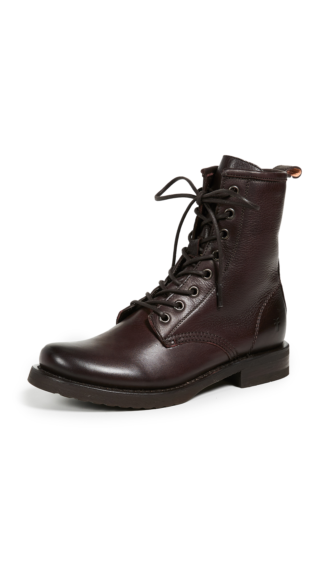 Frye Veronica Combat Boots - Dark Brown