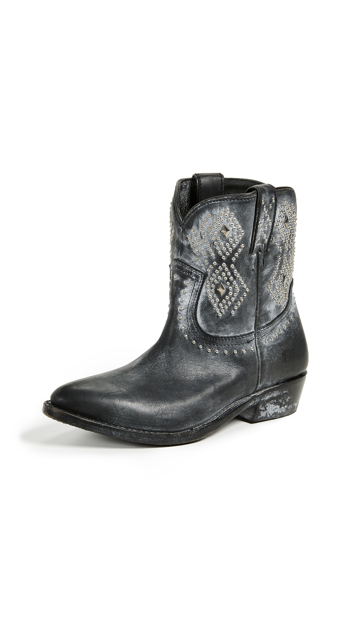 FRYE Women'S Billy Distressed Leather Low-Heel Western Boots in Black