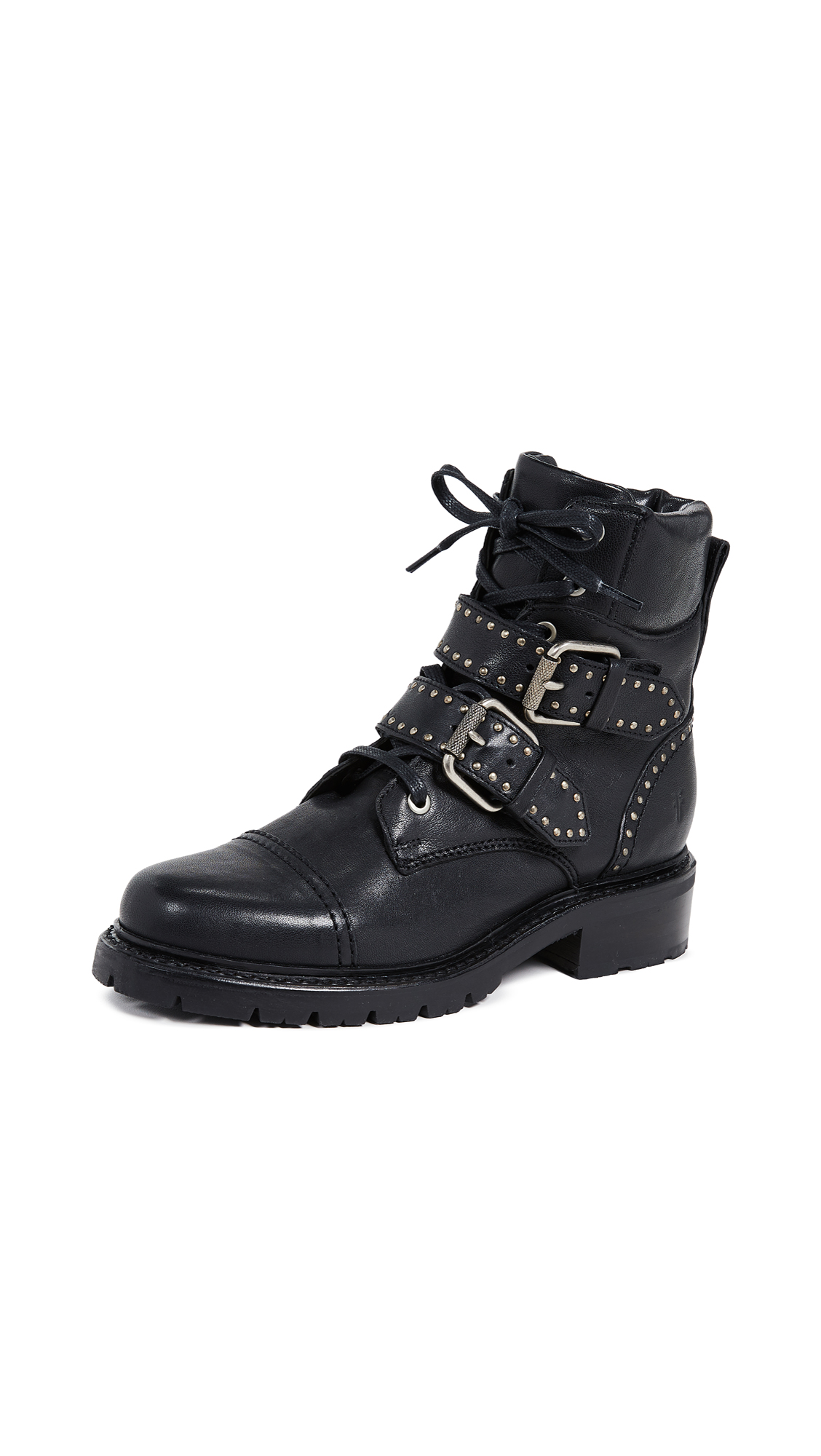 Frye Samantha Stud Belted Hiker Boots - Black